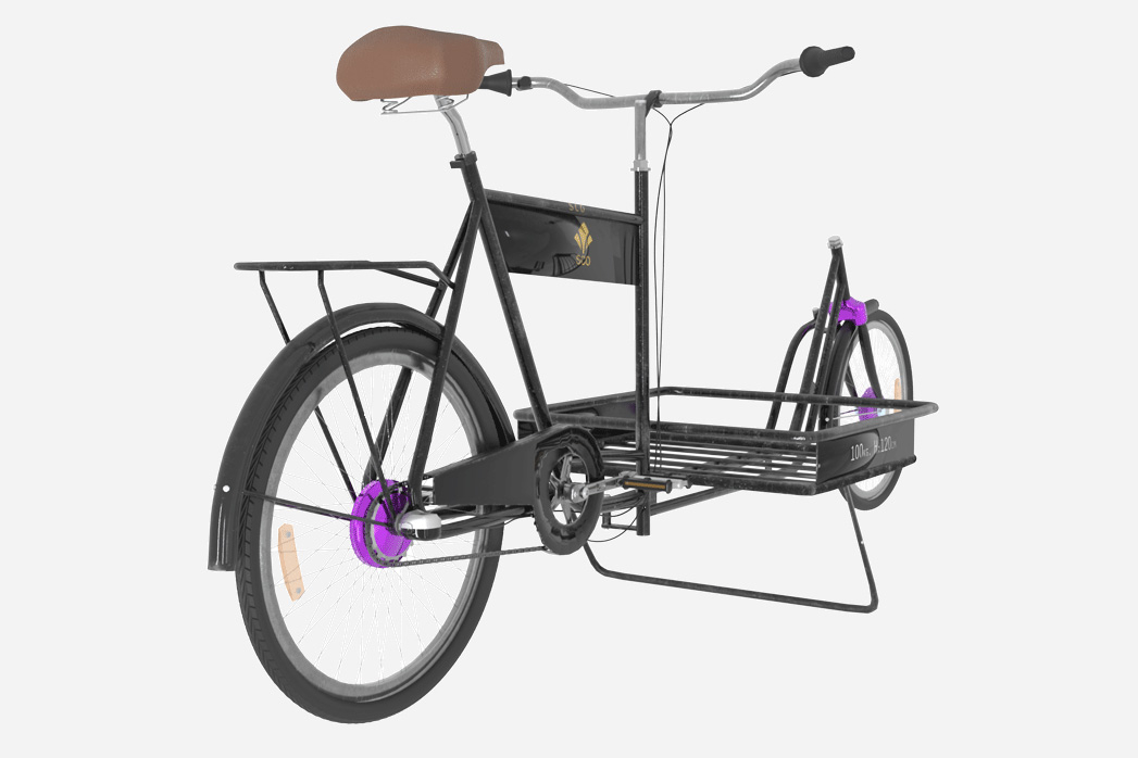 3D image of a long John bicycle made by Banazir Design